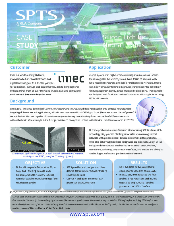 imec - Silicon Etch for Neural Probes