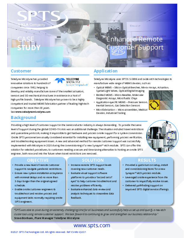 Teledyne Micralyne - Enhanced Remote Customer Support