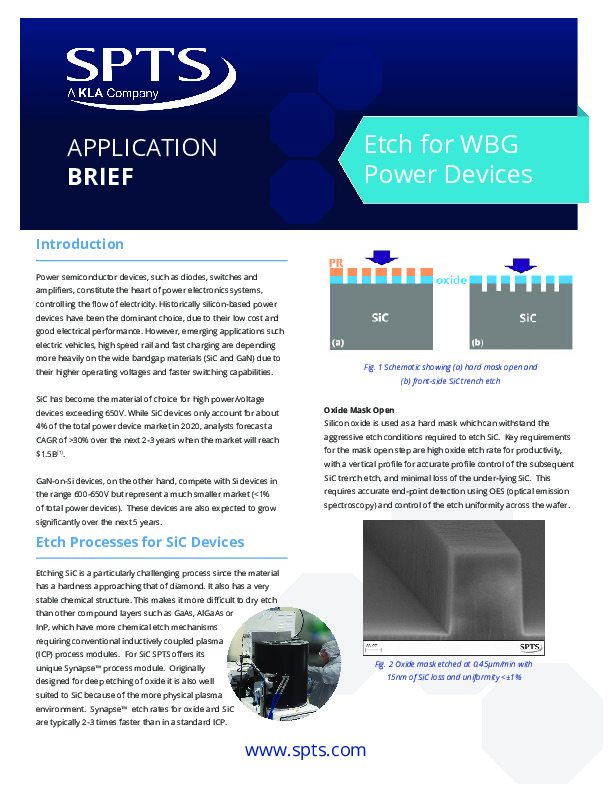 Etch Processes for WBG Power Devices