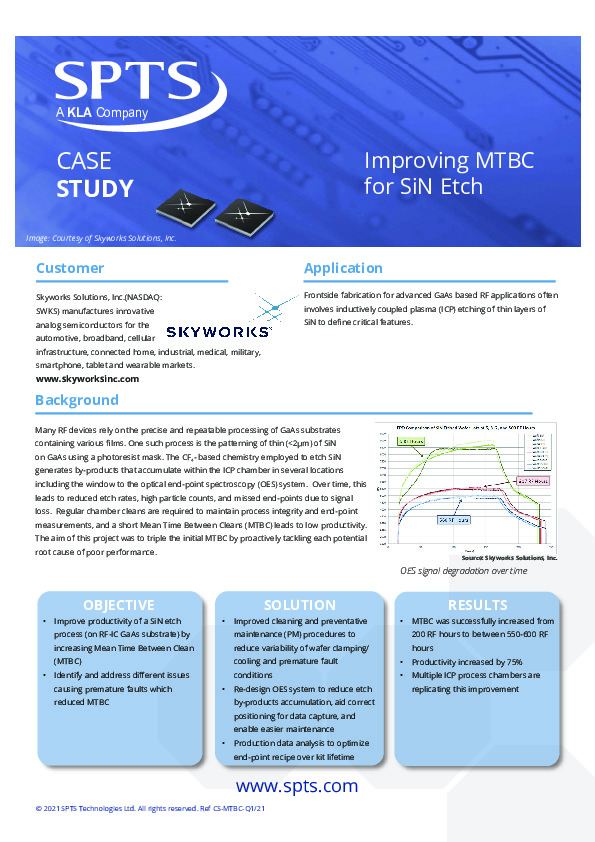 "Skyworks - ""Improving MTBC for SiN Etch"""