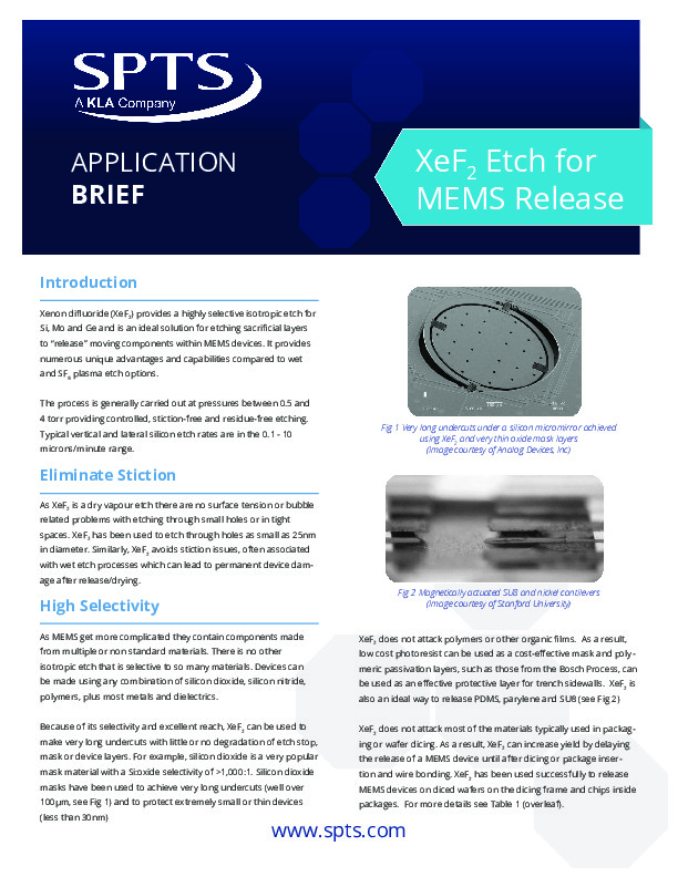 XeF2 for MEMS Release